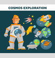 cosmos exploration and astronaut symbols vector image vector image