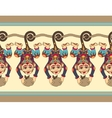 cute ethnic hang monkey seamless ribbon pattern vector image
