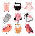cute woodland owls funny childish characters with vector image vector image