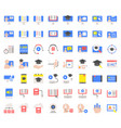 e learning and educated online icon set flat vector image