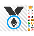ethereum award medal icon with bonus vector image vector image