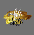 fall sale hand lettering design on golden brush vector image