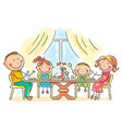family having meal together vector image vector image