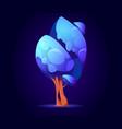 fantasy tree alien or magic unusual blue wood vector image vector image