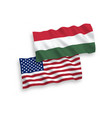 flags of hungary and america on a white background vector image vector image