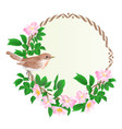 floral round frame with wild roses and bird vector image vector image