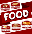 Food menu in red vector image