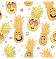 fun pineapple faces seamless repeat pattern vector image