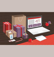 gift boxes and shopping bagson table vector image vector image