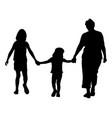 grandmother with grandchildren walking silhouette vector image