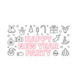 happy new year party linear horizontal vector image