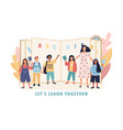 lets learn together concept with kids and teacher vector image