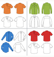 Long short sleeved mans buttoned shirt outline vector image vector image