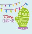 merry christmas celebration green mitten lights vector image