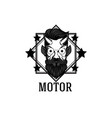 motor devil star square frame white background vec vector image vector image