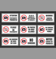 no camera use sign photo prohibited signboard vector image vector image