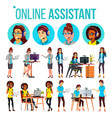 online assistant woman set online global vector image vector image