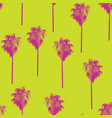 palm trees retro style pink on lime green pattern vector image vector image