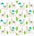 pattern with llama alpaca cactus vector image vector image