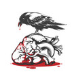 raven biting bleeding heart vector image vector image