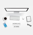 realistic workplace desktop top view desk table vector image