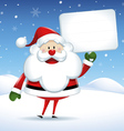 Santa Claus with white sign in Christmas snow scen vector image vector image