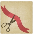 Scissors cut red ribbon vector image vector image