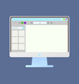 screen pc with opening app monitor vector image vector image