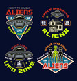 set aliens and ufo color emblems vector image vector image