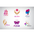 set beauty salon logos massagem spa icons vector image vector image