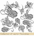 set of calligraphic flourishes and swirls vector image vector image