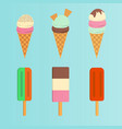 set of ice cream flat icon vector image vector image