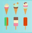 Set of ice cream flat icon vector image