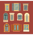 set vintage windows in flat style vector image
