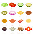 slice food icons set isometric style vector image vector image
