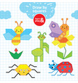 summer collection of insects pen children s vector image vector image