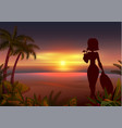 sunset tropical beach beautiful young woman vector image