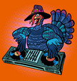 thanksgiving turkey character dj at the holiday vector image