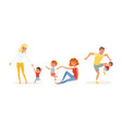 tired exhausted parents and children set stressed vector image vector image