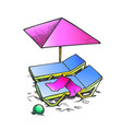 two beach chair with umbrella and ball ink vector image
