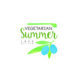 vegetarian summer logo design element for healthy vector image vector image