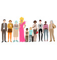 young men women and children standing together vector image