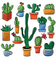 doodle collection of cute potted cactuses vector image