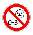 No kids 0-3 sign 1203 vector image