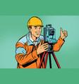 builder surveyor with a theodolite optical vector image