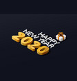 2020 isometric happy new year and gift box vector image vector image