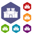 ancient fortress icons set hexagon vector image vector image