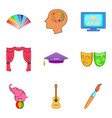 art school icons set cartoon style vector image