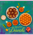 burning diya with assorted sweet and snack on vector image