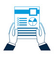 business man hand holding paper documents report vector image vector image